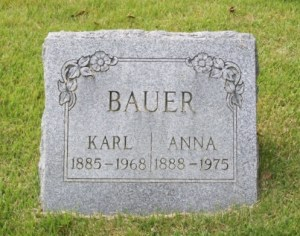 Photo of marker of Karl & Anna Bauer