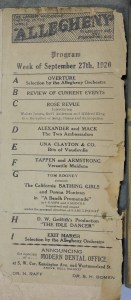 Allegheny Theater Program from 1927 showing the California Bathing Girls with Donna Montran