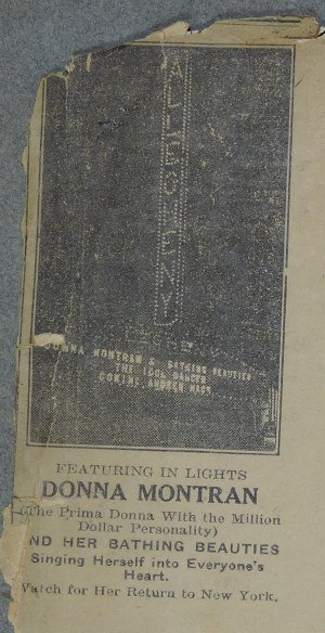 News clipping of Donna Montran's name in lights at the Allegheny Theater - September 1920.