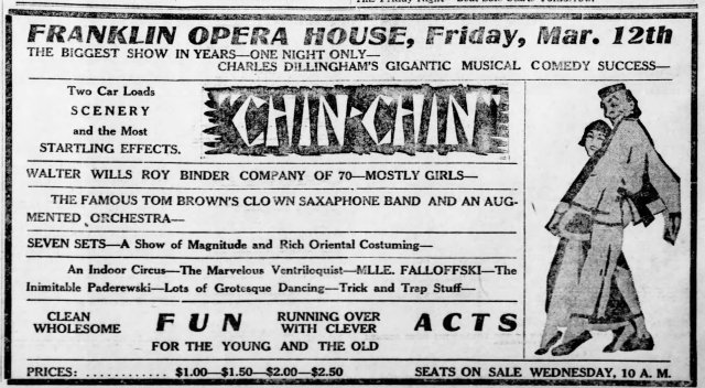 "Ad for Franklin Opera House, showing ""Chin Chin"" is coming, Friday Mar. 12th 1920"