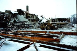 Photo of Jordan Jr. High during demolition, 1985