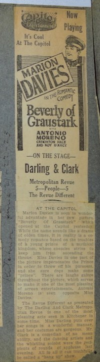 Newspaper Clipping of Capital Theater from 1926 showing Darling & Clark playing
