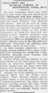 Chin Chin Newspaper Article - Pottsville, PA