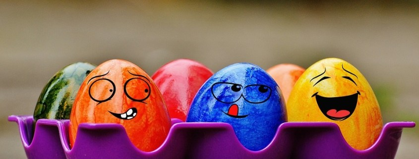 Painted Easter Eggs with smiling faces