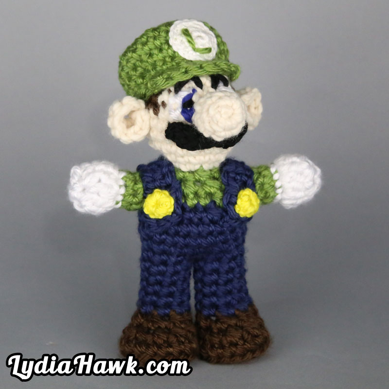 Crochet Luigi Mario Bros. Doll Lydia Hawk Designs Asheville NC