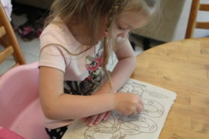Coloring with new recycled crayons
