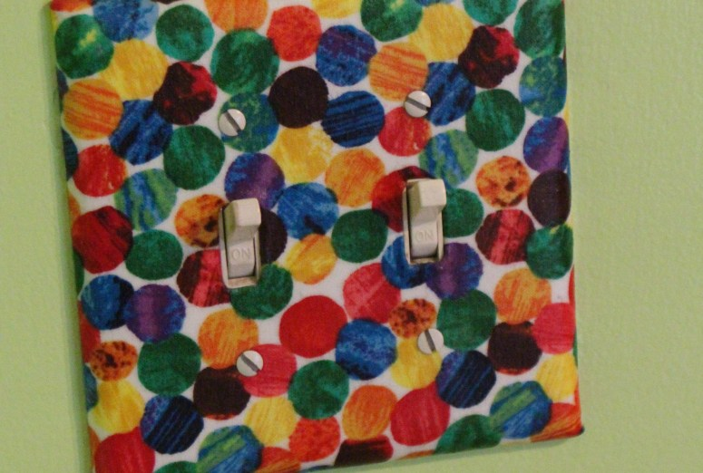 Eric Carle fabric made the cutest switch plate!