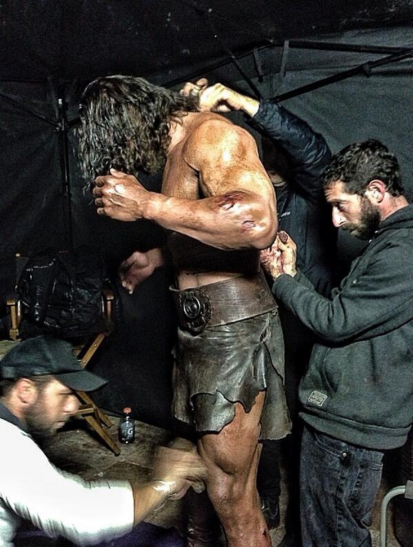The Rock Hercules getting dressed