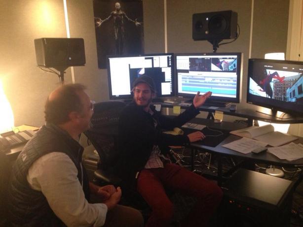 Andrew Garfield and Pietro Scalia editing Amazing Spider-Man 2