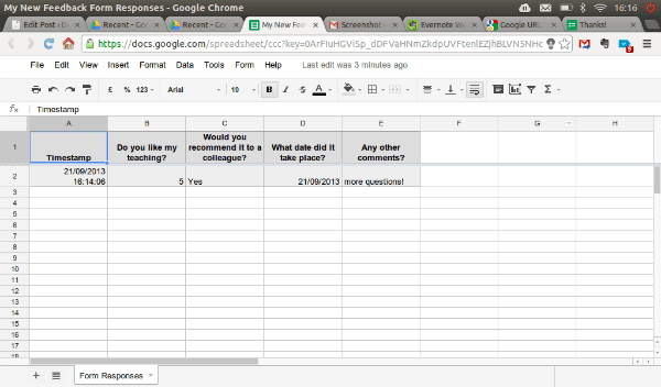 Remember If You Want To Change Anything In Your Form Just Click On It In  Your Google Drive To Go Back To The Editor.  Format For Feedback Form
