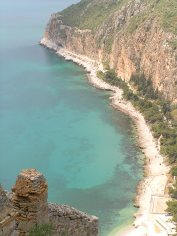 The green seas around Nafplio in Greece