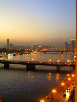 Illuminated Nile in Cairo