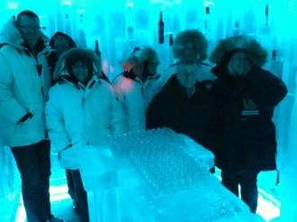Illuminated vodkas at the Belvedere Ice Bar, Whistler