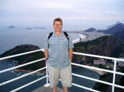 On top of Sugarloaf Mountain looking down on Rio, Brazil