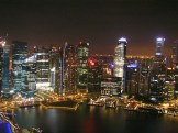 On top of the Marina Bay Sands overlooking Singapore