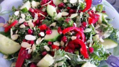 Easy & nourishing pomegranate kale salad with tahini lime marinade Dinner Grainfree Lunch vegan