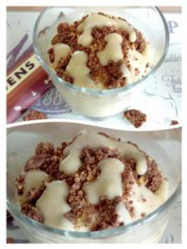Protein cookie crumble nicecream with salted caramel sauce Breakfast Desserts Grainfree snack
