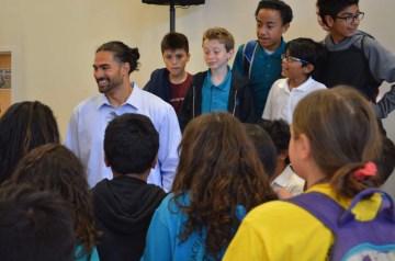 Dj Tialavea of the Atlanta Falcons speaking at West Jordan School 2