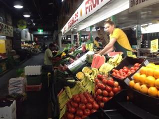 Fruit and veg stall at Adelaide Central Market.