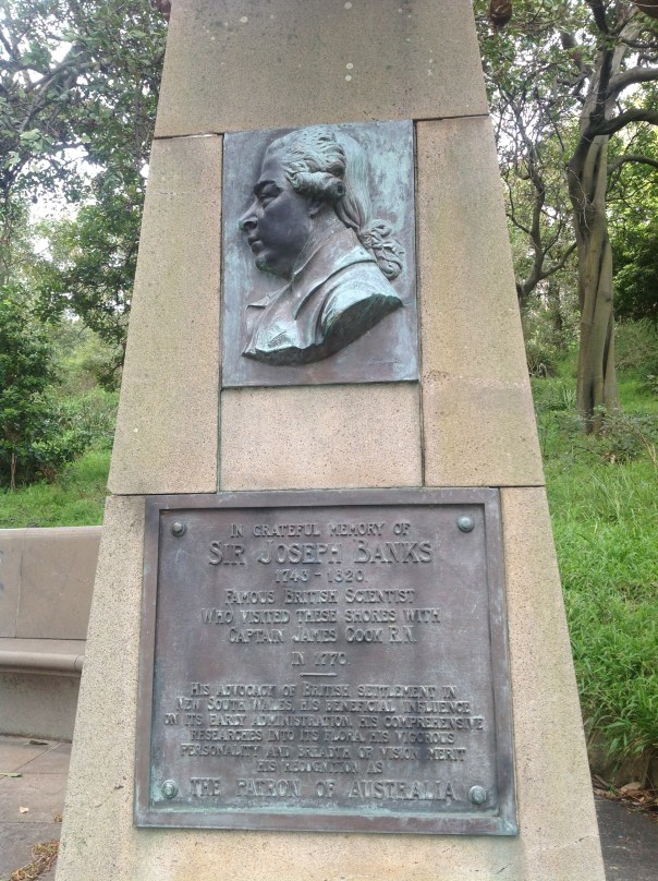 Monument to the work of botanist Sir Joseph Banks at Botany Bay in 1770.