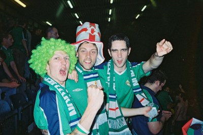 With Brendan and Mike the night we beat England 1-0 at Windsor Park, Belfast.