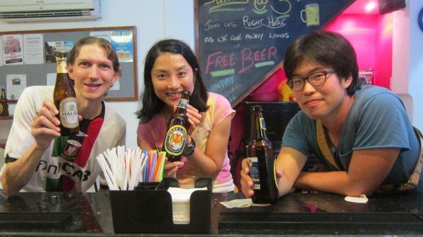 jonny blair in Hanoi relaxing with beer