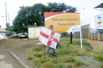 Jonny Blair flying the Northern Ireland flag at Lavumisa Swaziland