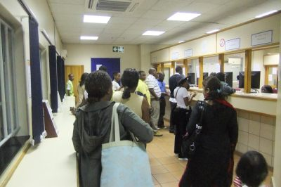 Jonny Blair at the Botswana border checkpoint in Tlokweng