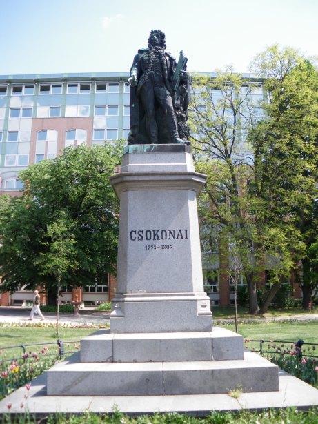 The Csokonai statue in Debrecen Hungary