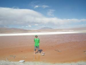 Jonny Blair the travelling Northern Irishman at Laguna Colorada, Bolivia
