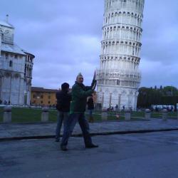 Jonny Blair pushing the leaning tower of pisa