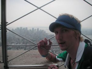 Jonny Blair at the top of the Empire State Building in New York
