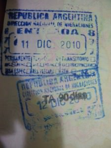 Argentina passport stamp on a lifestyle of travel