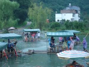 bamboo rafting in the yulong