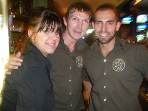 Manning the brew bar with Ilka and Michael in the early days in PJs.