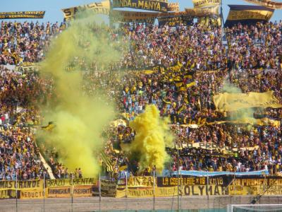 Flares in the hardcore Penarol end for the Defensor SPorting match.