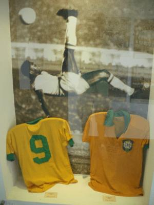 Signed Pele shirts.