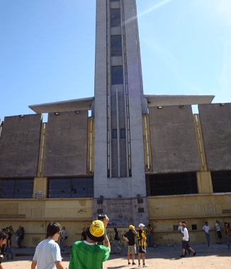 Me caught capturing the tower from the outside before a Penarol match.