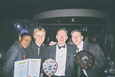Collecting our awards in Leicestershire, England.