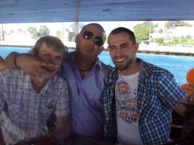 Chilling with Chris the chef and Michael Gomez who worked on the bar with me.