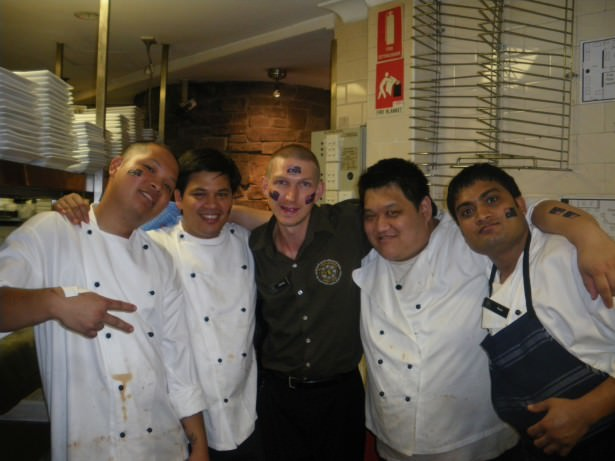 With the chefs when I worked in an Irish Pub in Australia.