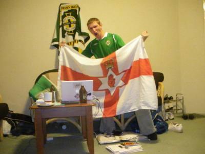 Watching Northern Ireland on my laptop in Australia in 2010.