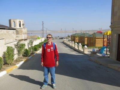 Wearing Alan Mannus's shirt while backpacking near Lake Masazir, Azerbaijan.