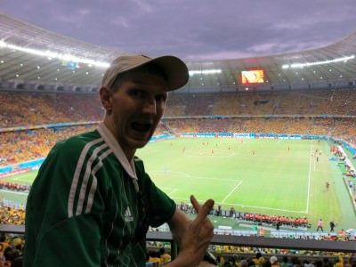 Living my childhood dream in Fortaleza. Watching the World Cup live - Brazil v. Mexico.
