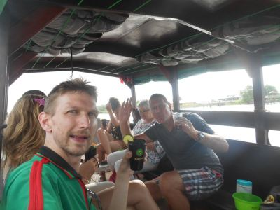 Drinks for sunset on the party boat back to Paramaribo.