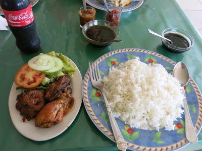 Lunch at Warung Toucha restaurant in Tamanredjo.