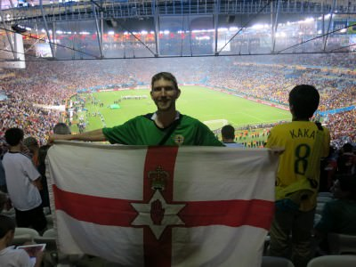 Flying my Northern Ireland flag at the Argentina v. Germany World Cup Final in Rio De Janeiro, Brazil.