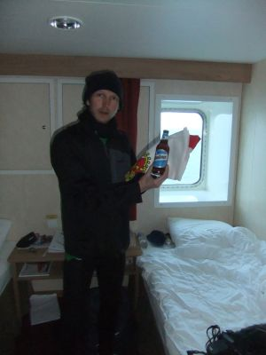 With my Quilmes beer for the Antarctica toast at King George Island.