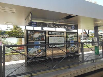 Arrival at Estadio Azteca station on the train.