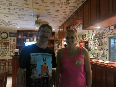 With Sam from Bournemouth in Corker's, Belmopan, Belize.